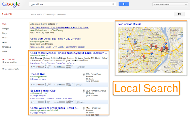 Local Search results screenshot