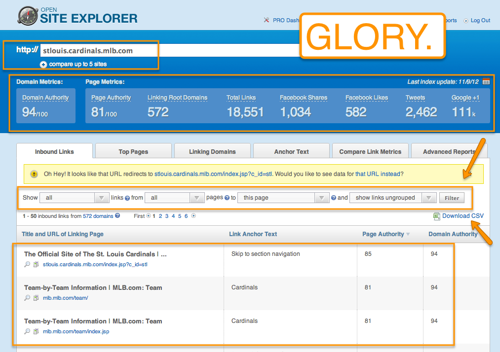 Screenshot of Open Site Explorer