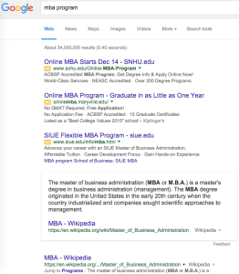 MBA Program SERP