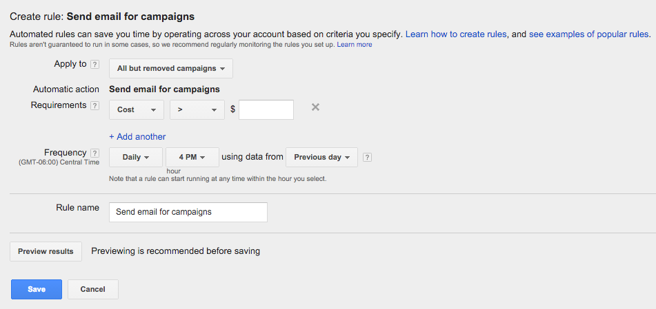AdWords Budget Rules