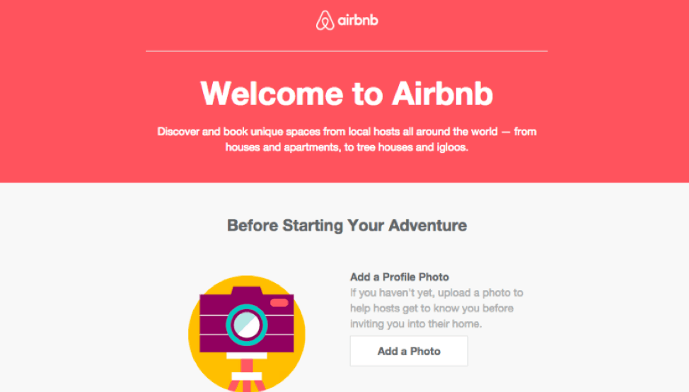 Air BnB email example shown in desktop format