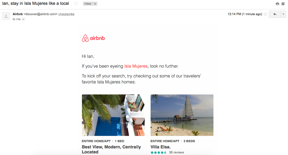 Air BnB email example shows customized results