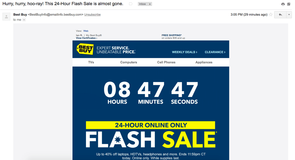 best buy email shows special offers