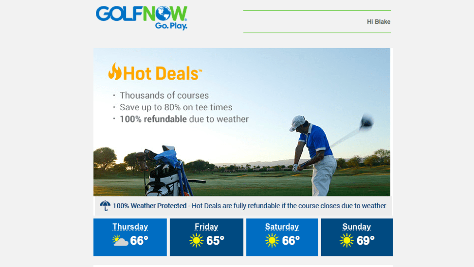 golf now email highlights membership