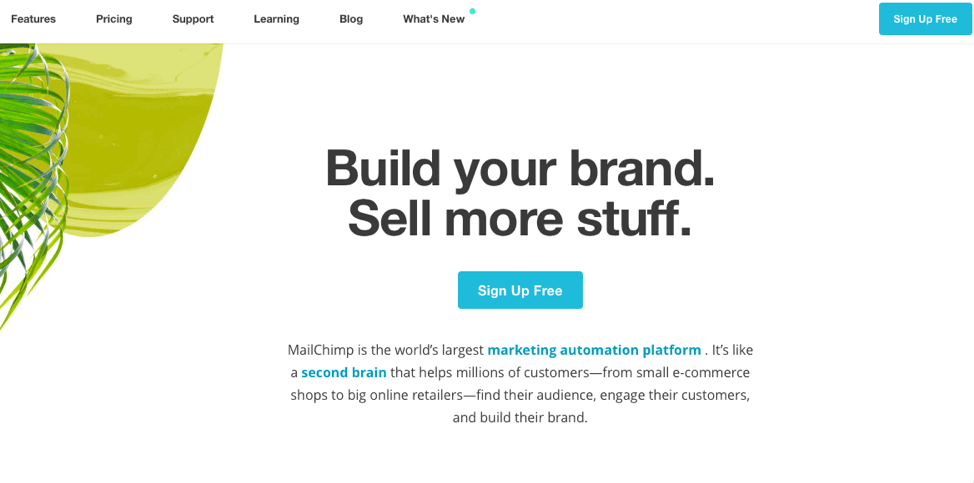 view of mailchimp homepage