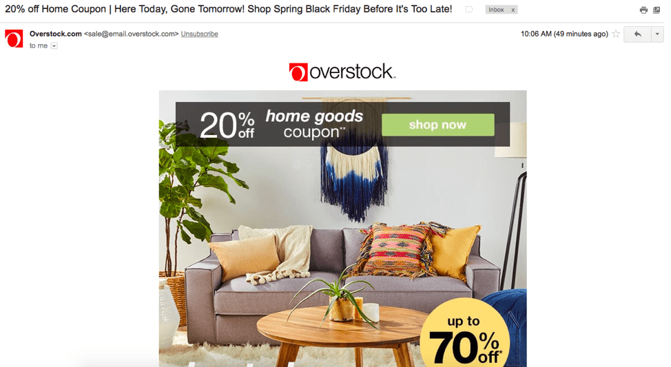 overstock email follows up an abandoned shopping cart experience