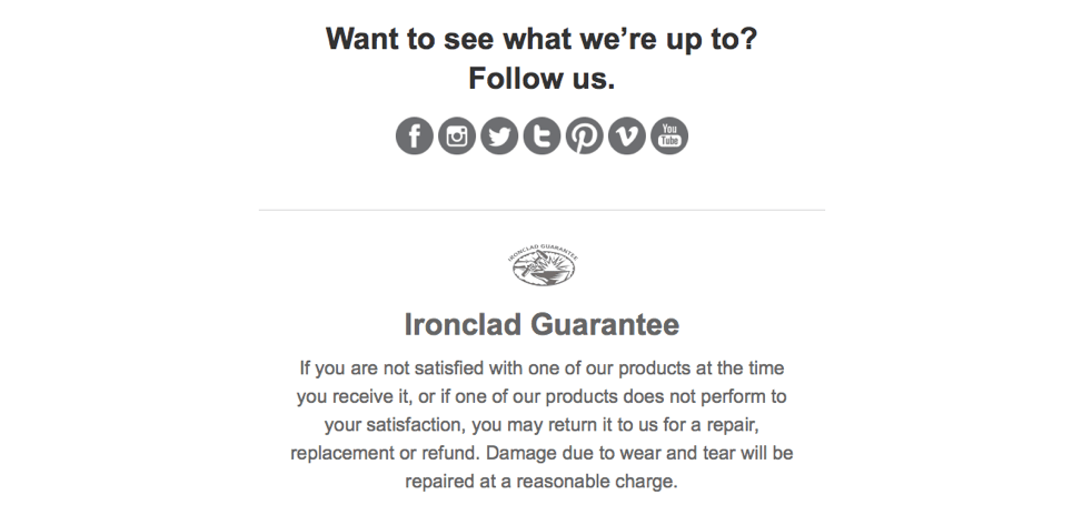 patagonia email example shows other channels