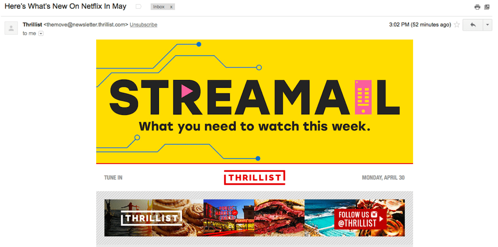 Streamail email example shows announcements