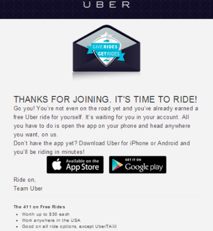 uber email example shows clear communication