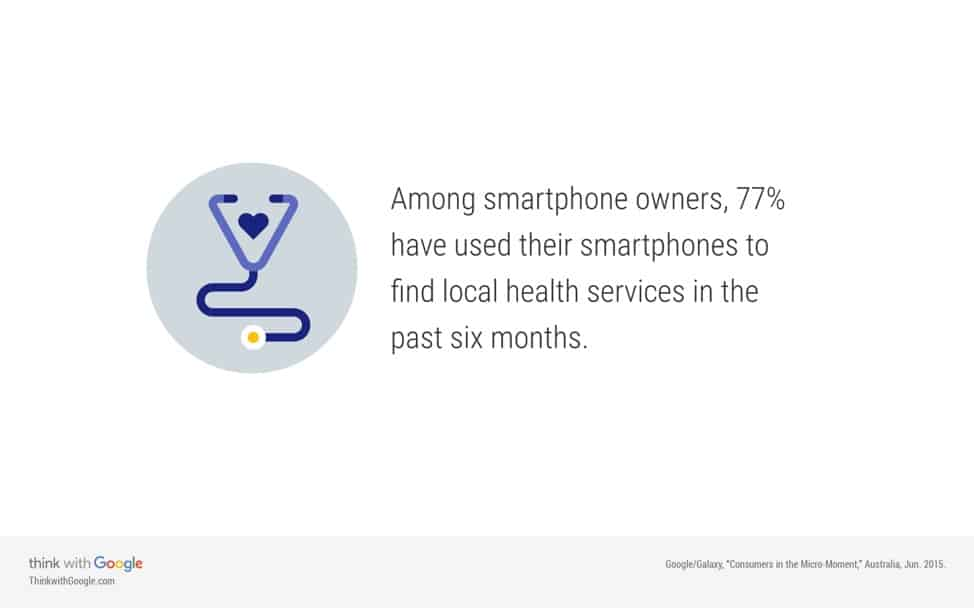 google quote 77% smartphone users find local health services