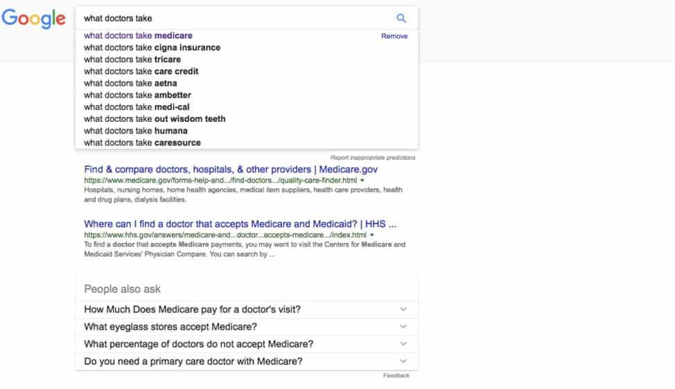 "google search results page for ""what doctors take"""
