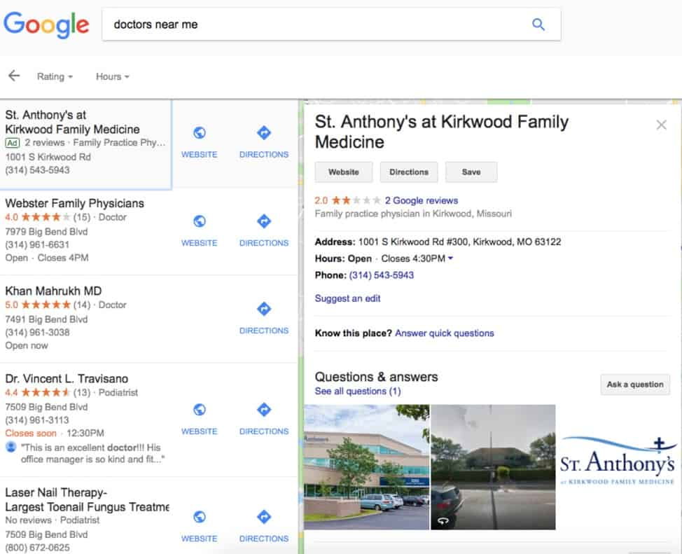 """google search results page for """"doctors near me"""""""