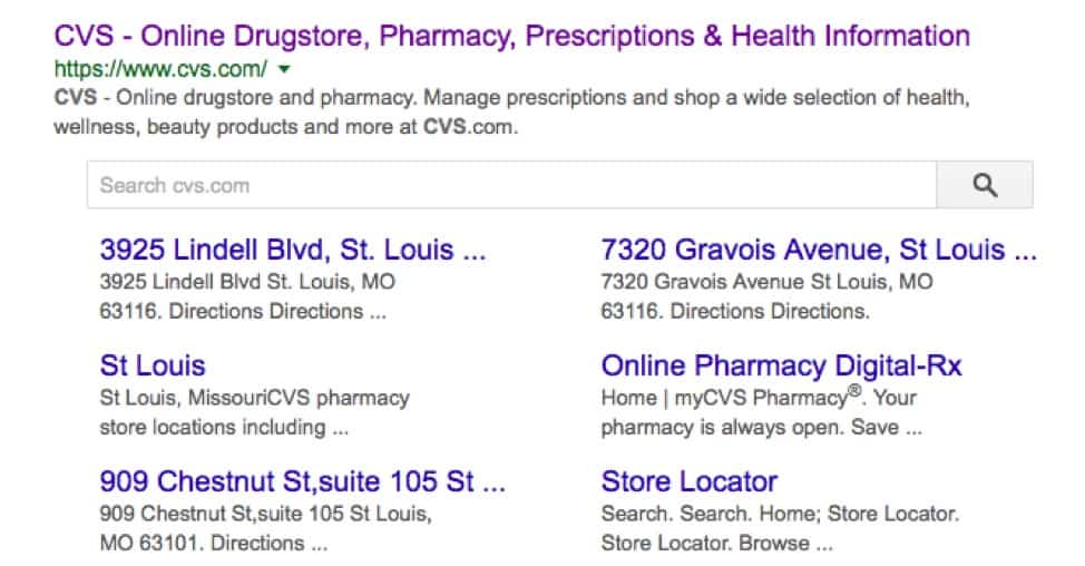 google search page for CVS pharmacy