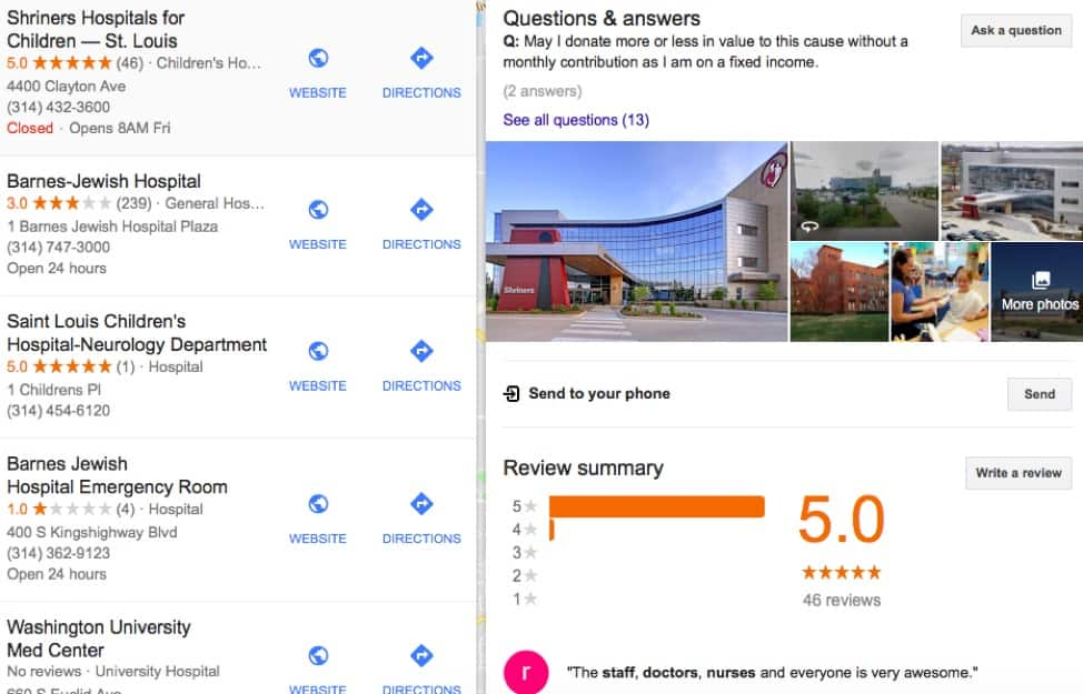 google search page with results of local hospitals